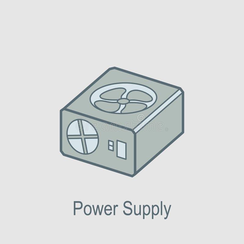 Icono de la fuente de alimentación El elemento del ordenador parte con el icono del nombre para los apps móviles del concepto y d stock de ilustración