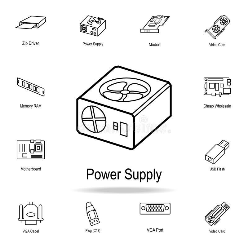 Icono de la fuente de alimentación Sistema detallado de iconos de la pieza del ordenador Diseño gráfico superior Uno de los icono stock de ilustración