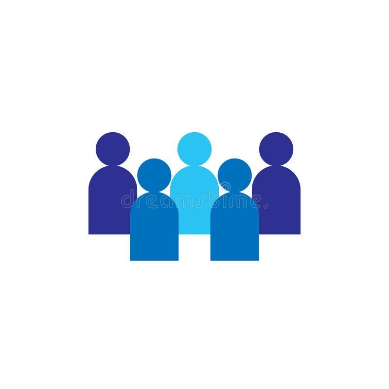 Icono de la gente Equipo corporativo del negocio que trabaja junto Símbolo social del logotipo del grupo de redes Muestra de la m ilustración del vector