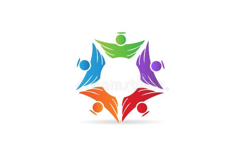 Icono de la gente de la unidad del trabajo en equipo del ?ngel del logotipo stock de ilustración