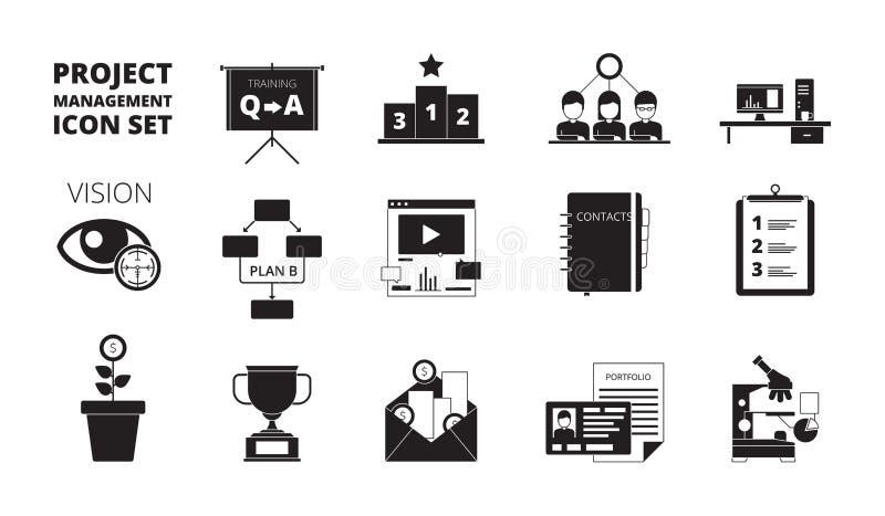 Icono de la gestión del proyecto El equipo de la productividad de los administradores de oficinas del planeamiento del trabajo ma libre illustration