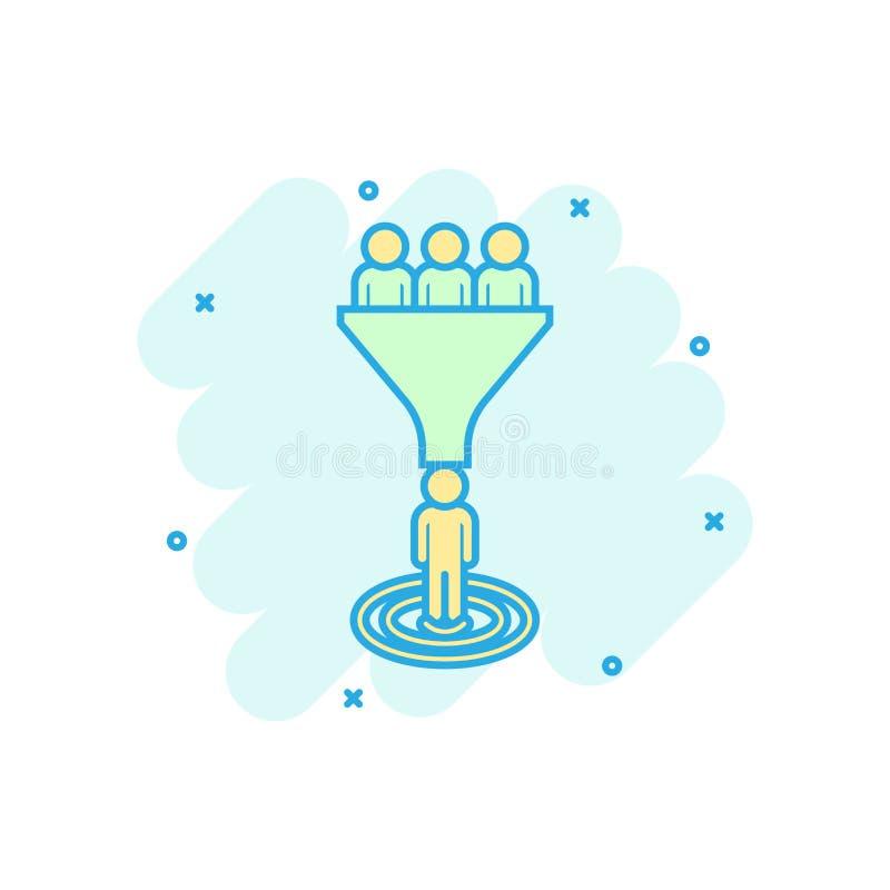 Icono de la gestión de la ventaja en estilo cómico Embudo con el pictograma del ejemplo de la historieta del vector de la gente C libre illustration