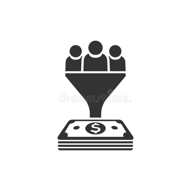 Icono de la gestión de la ventaja en estilo plano Embudo con la gente, dinero VE stock de ilustración