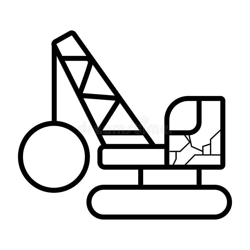 Icono de la grúa con el arruinamiento de la bola stock de ilustración