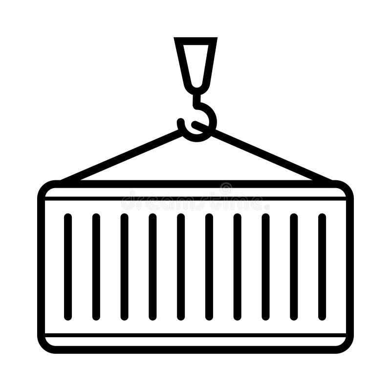 Icono de la grúa y del envase stock de ilustración