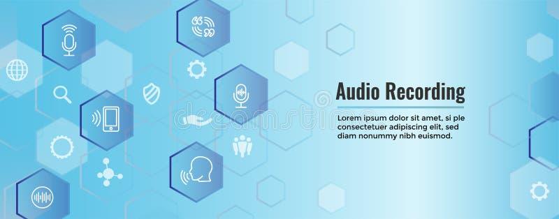 Icono de la grabación de audio o del control por voz con imágenes de la onda acústica ilustración del vector
