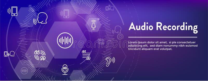 Icono de la grabación de audio o del control por voz con imágenes de la onda acústica stock de ilustración