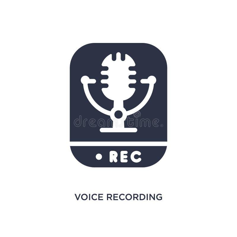 icono de la grabación de la voz en el fondo blanco Ejemplo simple del elemento del concepto de la interfaz de usuario ilustración del vector