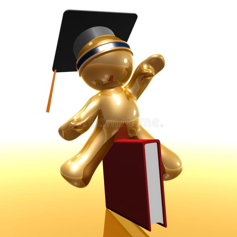Icono de la graduación y del conocimiento 3d ilustración del vector