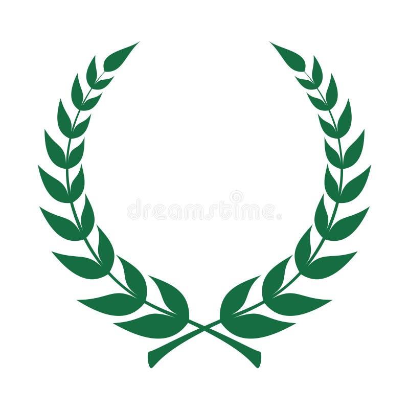 Icono de la guirnalda del laurel Emblema hecho de ramas del laurel stock de ilustración