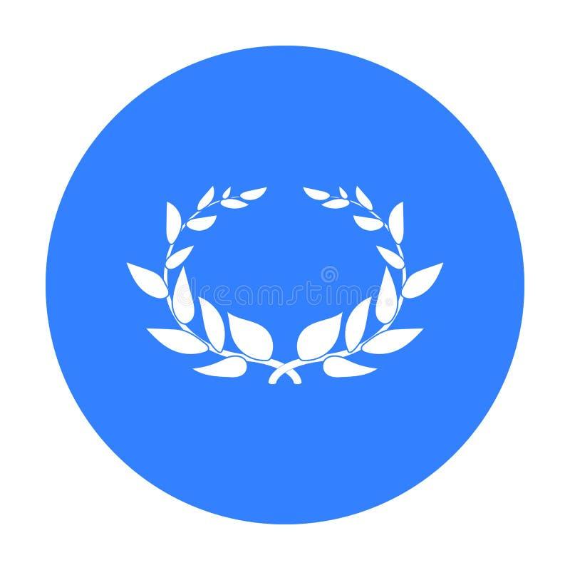 Icono de la guirnalda del laurel en estilo negro aislado en el fondo blanco Ejemplo del vector de la acción del símbolo de Grecia ilustración del vector