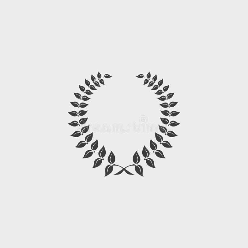 Icono de la guirnalda del laurel en un diseño plano en color negro Ilustración EPS10 del vector ilustración del vector