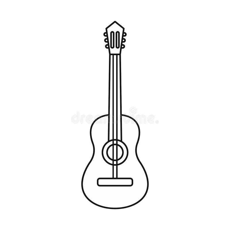 Icono de la guitarra acústica, estilo del esquema libre illustration