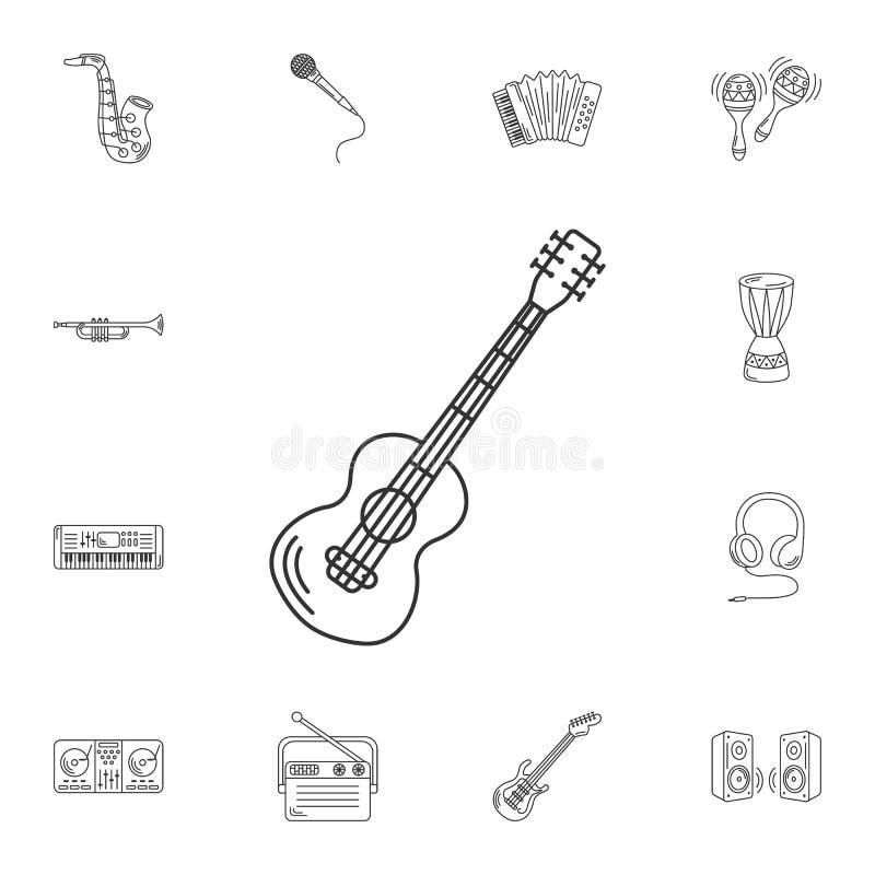 Icono de la guitarra Ejemplo simple del elemento Diseño f del símbolo de la guitarra ilustración del vector