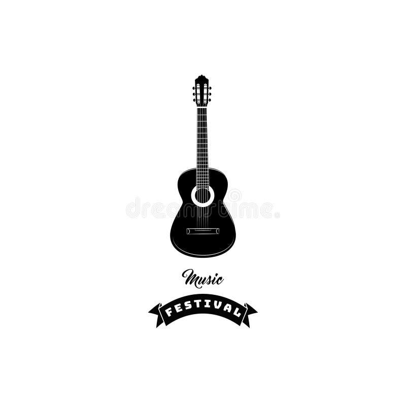 Icono de la guitarra Etiqueta del emblema del logotipo del festival de música Instrumento musical Vector ilustración del vector