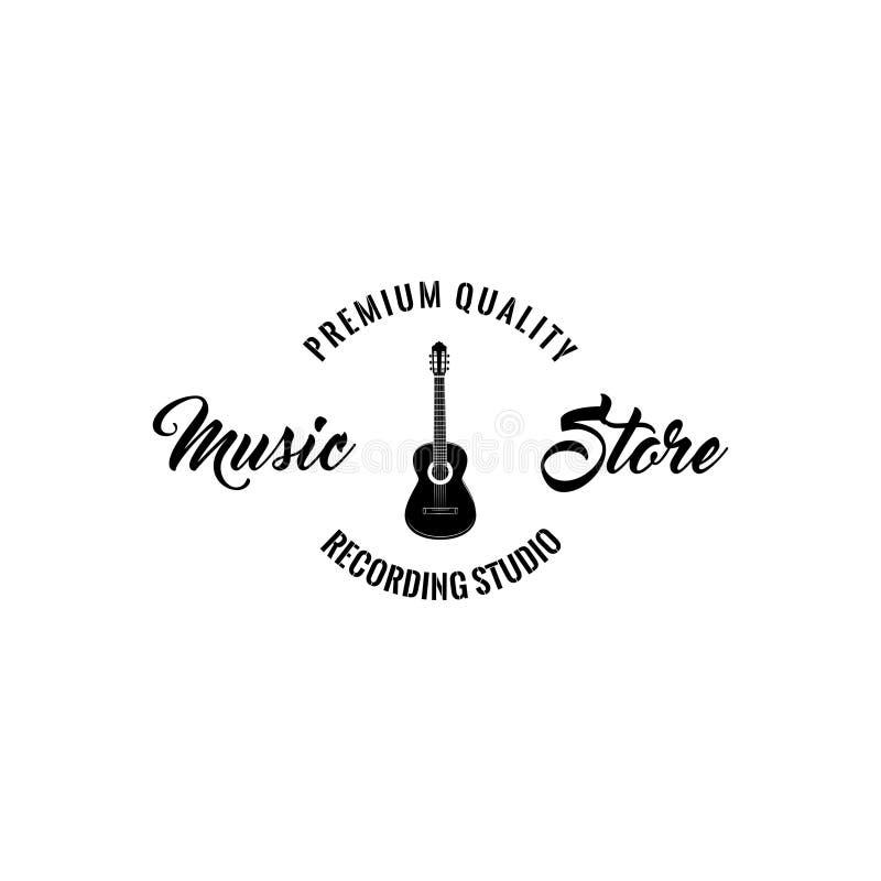 Icono de la guitarra Insignia del emblema del logotipo de la tienda de la música Instrumento musical Letras superiores de la cali stock de ilustración