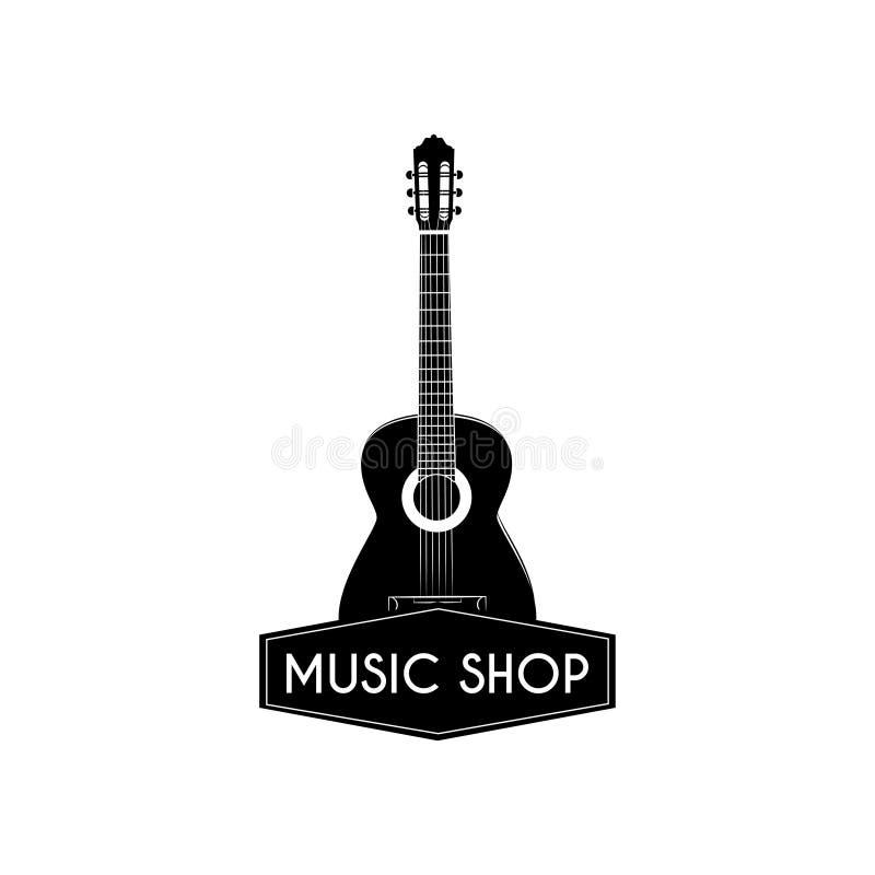 Icono de la guitarra Logotipo de la tienda de la música Etiqueta de la tienda de la música Muestra acústica del instrumento music stock de ilustración