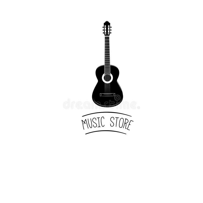 Icono de la guitarra Muestra acústica del instrumento musical Ilustración del vector stock de ilustración