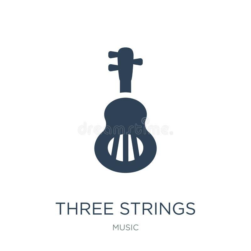 icono de la guitarra de tres secuencias en estilo de moda del diseño icono de la guitarra de tres secuencias aislado en el fondo  libre illustration