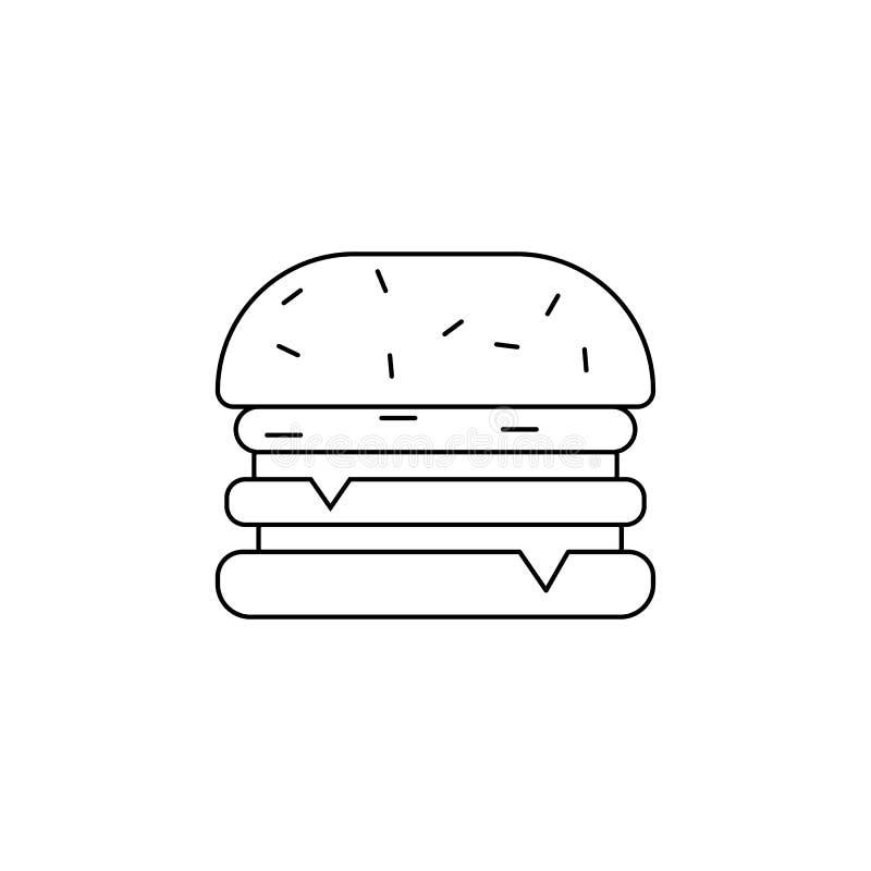 Icono de la hamburguesa Elemento de los alimentos de preparación rápida para los apps móviles del concepto y del web Línea fina i ilustración del vector