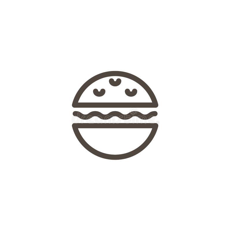 Icono de la hamburguesa o del bocadillo Alimentos de preparación rápida, línea plana pictograma del bocado aislado en el fondo bl stock de ilustración