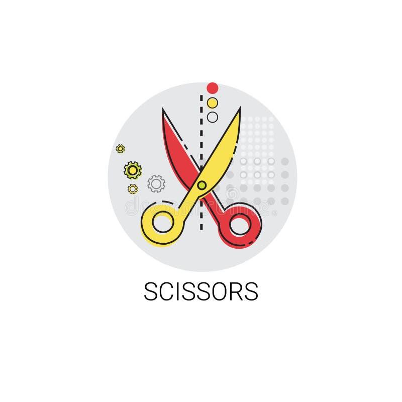 Icono de la herramienta de la oficina del trabajo del equipo de las tijeras stock de ilustración