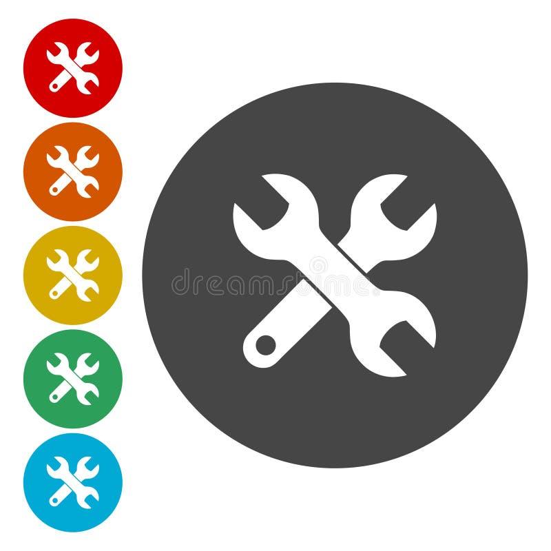 Icono de la herramienta, icono de la llave ilustración del vector