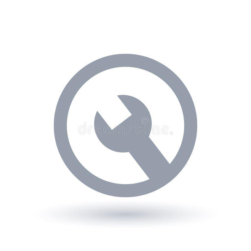 Icono de la herramienta de la llave inglesa en círculo Símbolo del servicio y de la reparación libre illustration