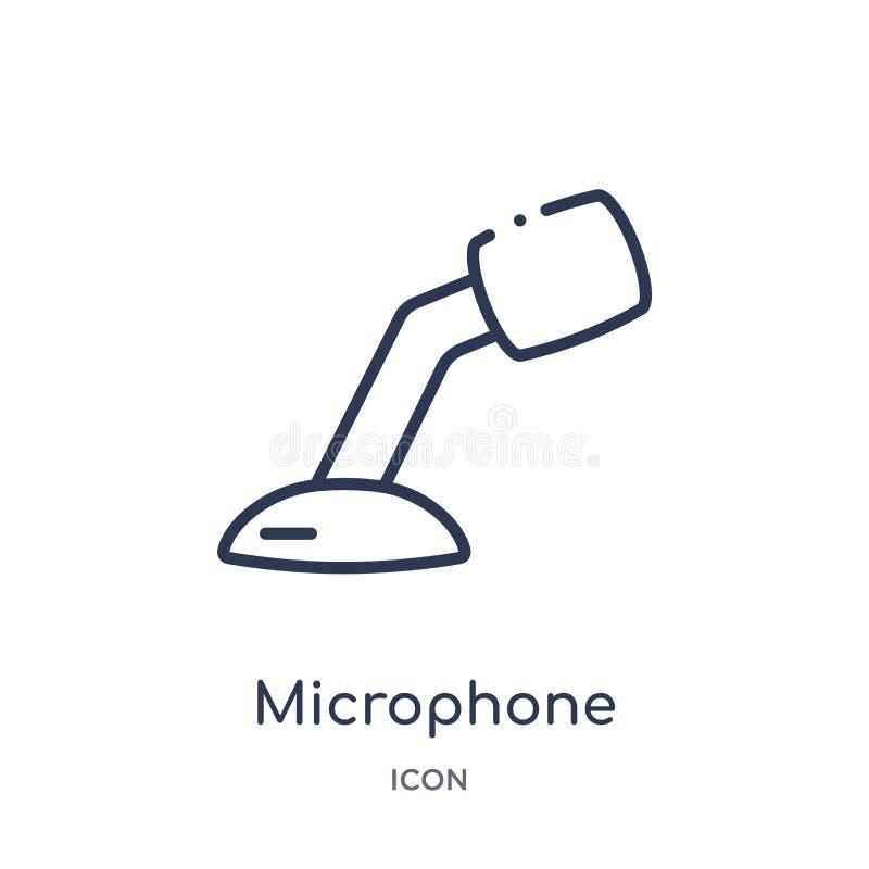 icono de la herramienta de la voz del micrófono de la colección del esquema de las herramientas y de los utensilios Línea fina ic libre illustration