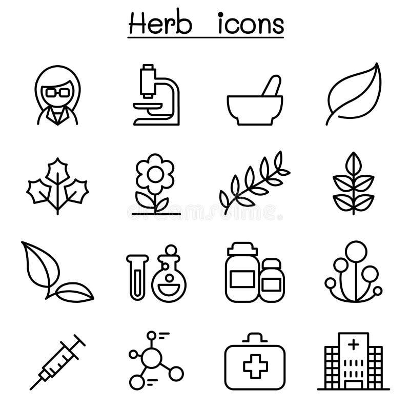 Icono de la hierba fijado en la línea estilo fina libre illustration