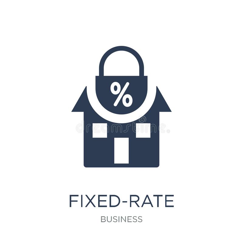Icono de la hipoteca de tasa fija Hipoteca de tasa fija plana de moda del vector ilustración del vector