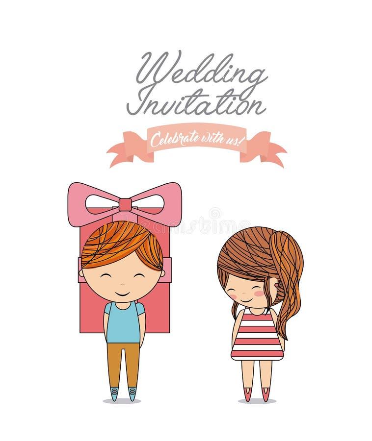 Icono de la historieta de los pares La invitación y ahorra el diseño de la fecha Vector libre illustration