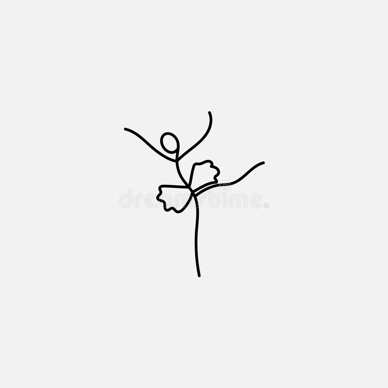 Icono de la historieta del bosquejo poca figura bailarín del palillo de ballet libre illustration