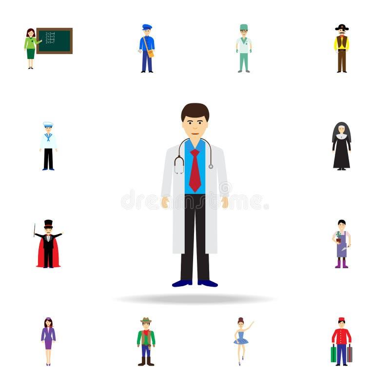 Icono de la historieta del doctor Sistema detallado de iconos de la profesión del color Diseño gráfico superior Uno de los iconos stock de ilustración