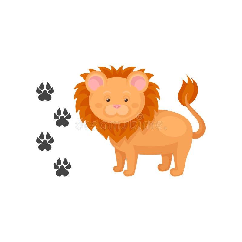 Icono de la historieta del león lindo y de sus huellas Animal africano salvaje Elemento plano del vector para el libro de niños o ilustración del vector