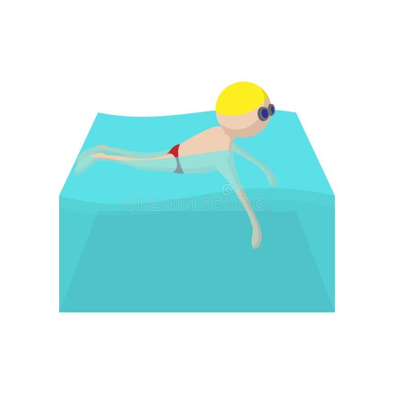 Icono de la historieta del nadador ilustración del vector