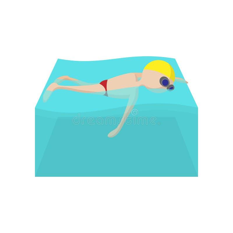 Icono de la historieta del nadador del estilo libre stock de ilustración