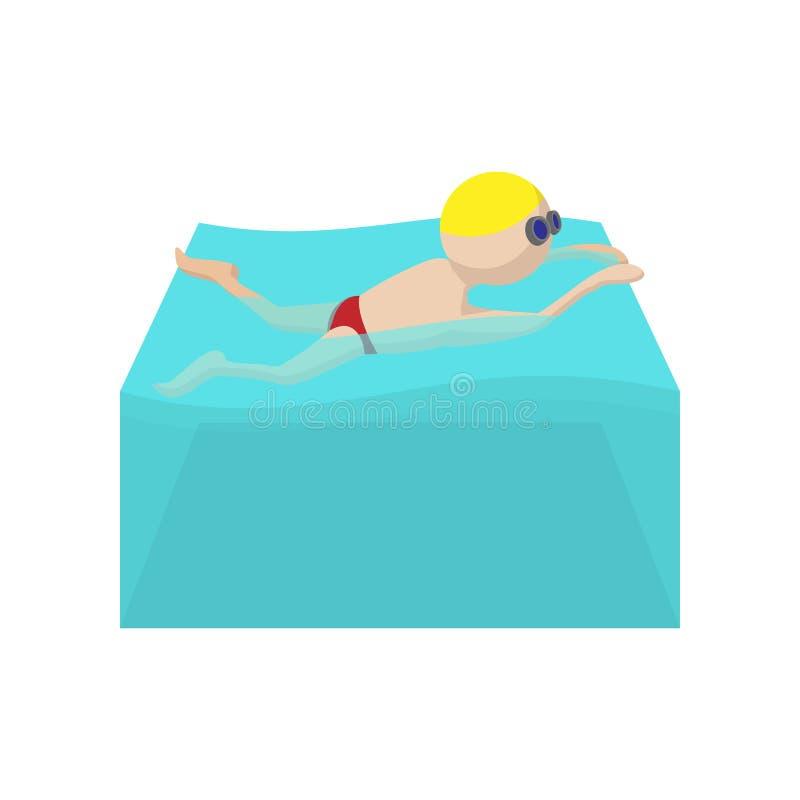 Icono de la historieta del nadador de la mariposa ilustración del vector