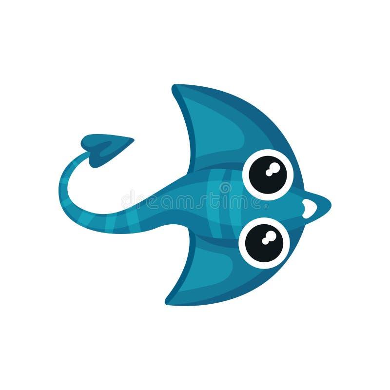 Icono de la historieta del rayo de manta azul con la cola larga Animal de mar lindo Cientos dólares Vector plano para el juego o  libre illustration