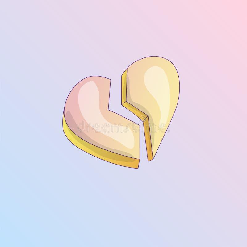 Icono de la historieta del vector del corazón quebrado angustia icono del vector de la historieta del corazón quebrado o del divo ilustración del vector