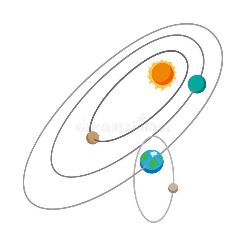 Icono de la historieta de la Sistema Solar stock de ilustración