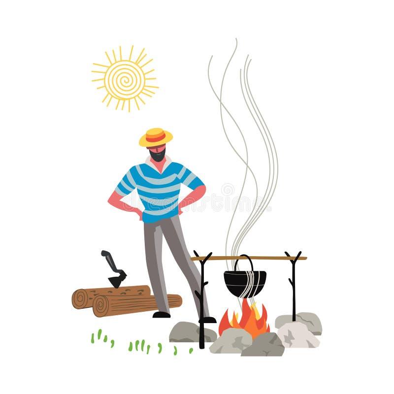 Icono de la hoguera aislado stock de ilustración