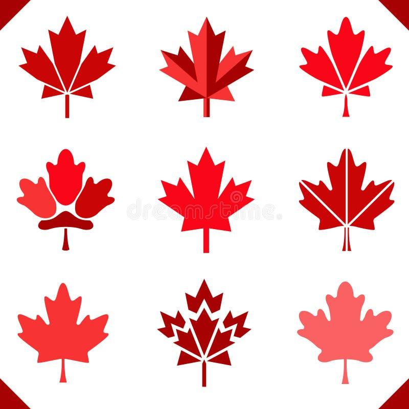 Icono De La Bandera De Canadá De La Hoja De Arce Ilustración