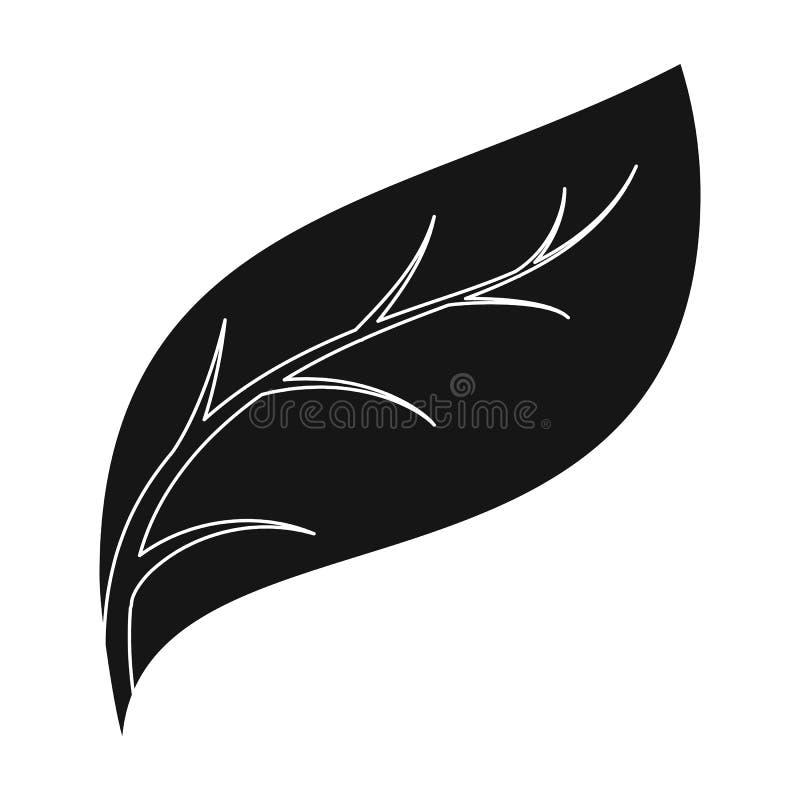 Icono de la hoja de Eco en estilo negro aislado en el fondo blanco Ejemplo bio y de la ecología del símbolo de la acción del vect libre illustration