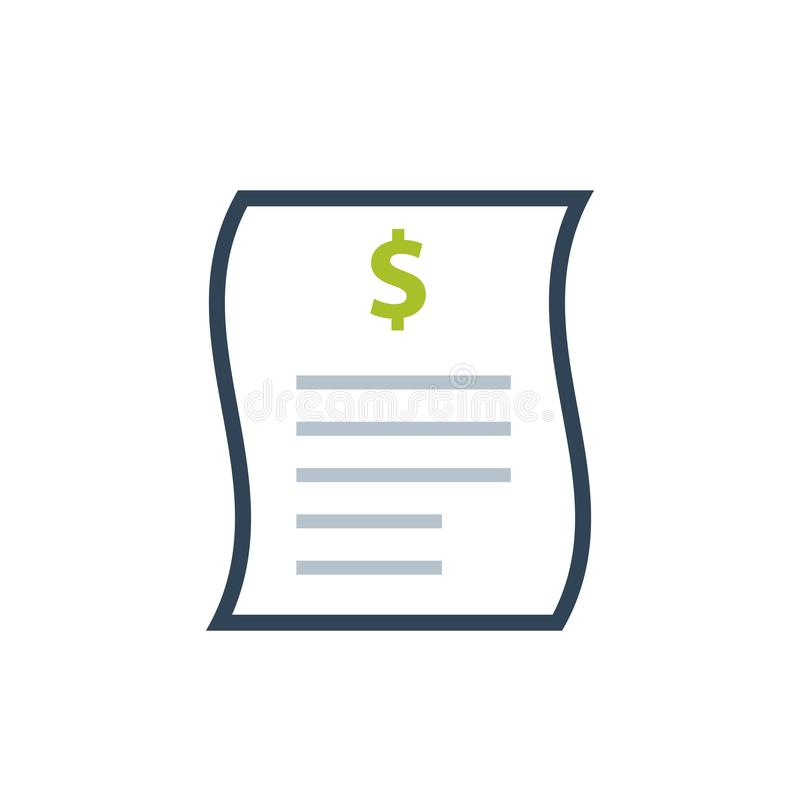 Icono de la hoja de la factura stock de ilustración
