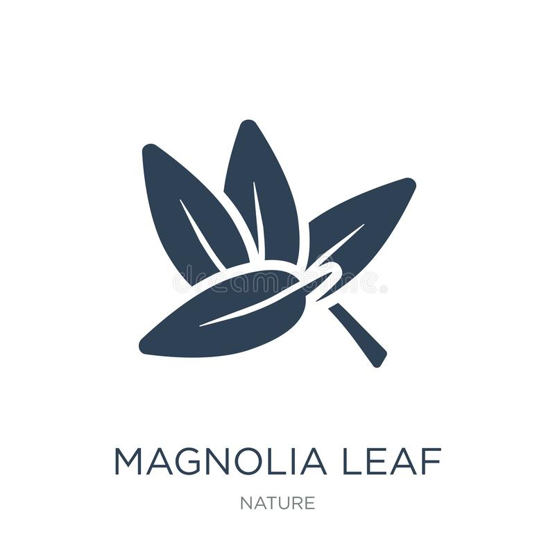 icono de la hoja de la magnolia en estilo de moda del diseño icono de la hoja de la magnolia aislado en el fondo blanco icono del stock de ilustración