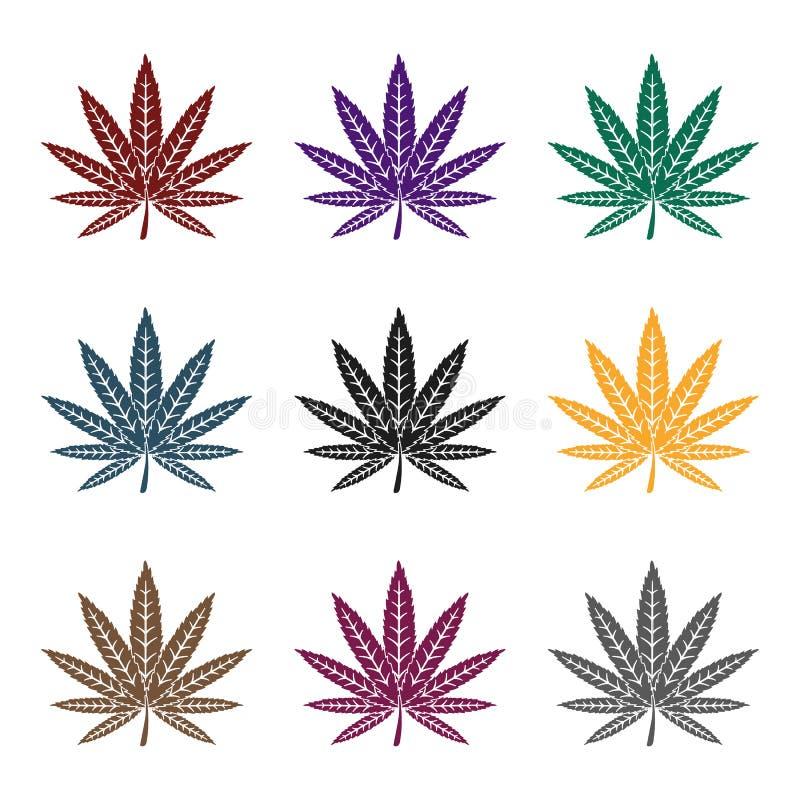 Icono de la hoja de la marijuana en estilo negro aislado en el fondo blanco Droga el ejemplo común del vector del símbolo stock de ilustración
