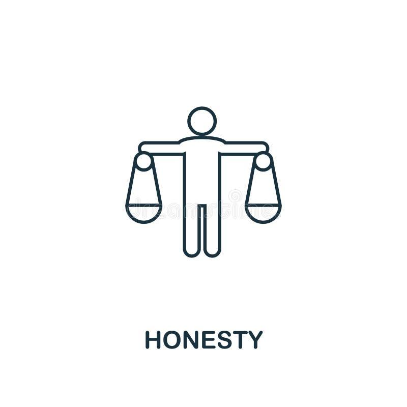 Icono de la honradez Línea fina símbolo del diseño de la colección de los iconos de la ética empresarial Icono perfecto para el d libre illustration