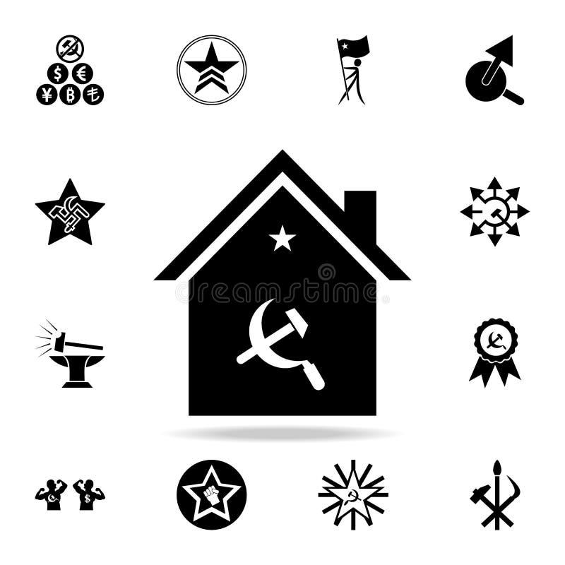 icono de la hoz y del martillo de la casa Sistema detallado de iconos del comunismo y del socialismo Diseño gráfico superior Uno  libre illustration