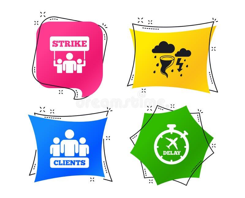 Icono de la huelga Tiempo y grupo de personas de la tormenta Vector stock de ilustración